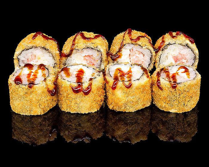 Ролл Мини темпура с копченым лососем